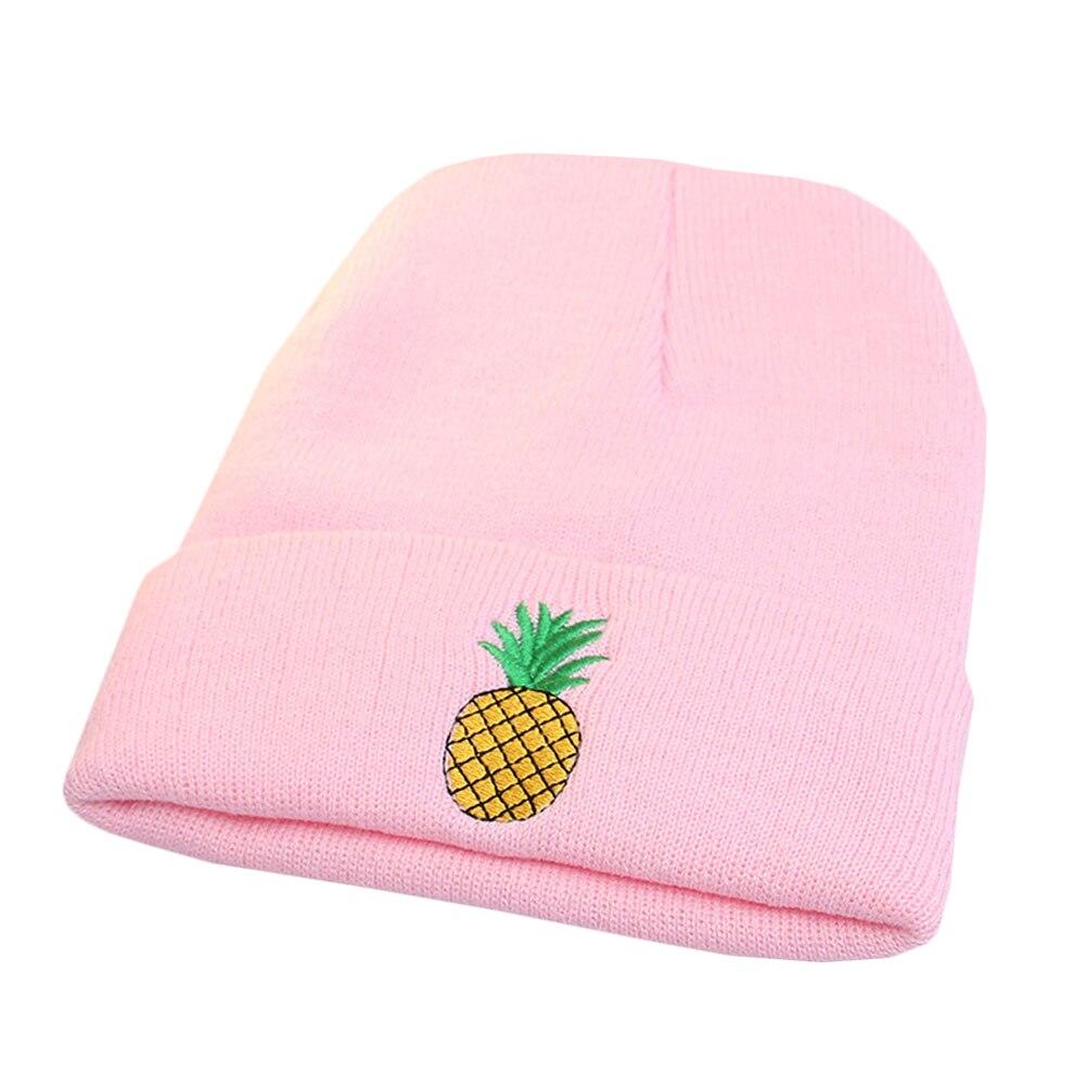 Winter Women Girl Rose Embroidered Pineapple Beanie Stocking Cap Hiking Cuffed Knit Hat Warm Skull Caps Bonnet Gorro New Hat