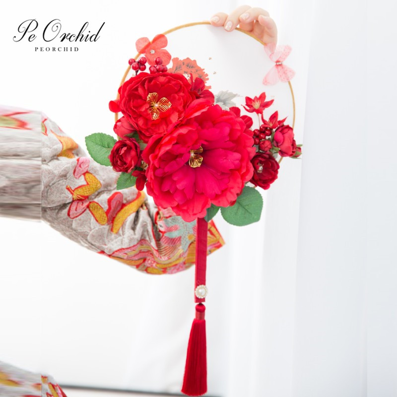 PEORCHID Red/Pink Wedding Fan Bouquet Pivoine Chinese