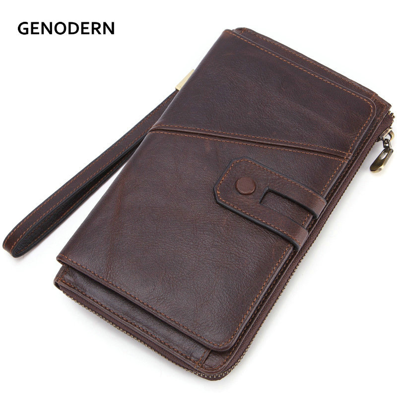 GENODERN Men Clutch Wallet Genuine Leather Male Clutch Bag Organize Zipper Long Wallet With Cell Phone Holder Coin Purse