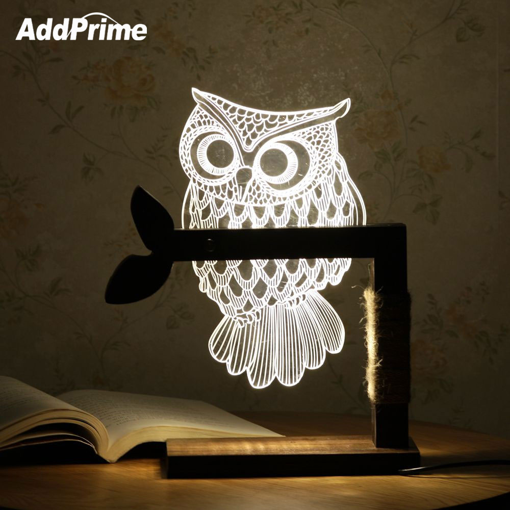 Creative 3D Acrylic Owl Table Lamp Wood Desktop Decoration Lamp Wooden Bracket Butterfly Desk Lamp USB Charge Dimmable Light thrisdar dimmable 3d acrylic led night light 3d owl butterfly bedroom bedside retro wooden table lamps christmas birthday gift