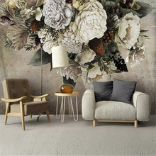 Modern hand-painted floral TV background wall professional production mural, wallpaper wholesale, custom poster photo