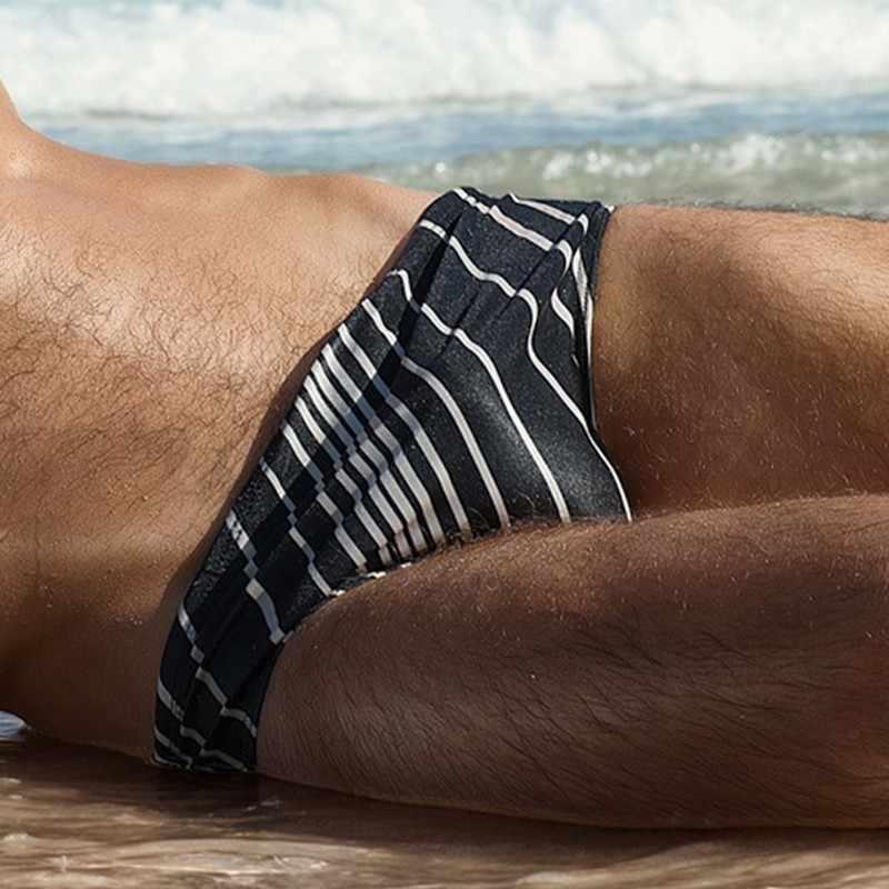 男性水着ストライプ青赤黒水着マン巾着水着弾性速乾性通気性ブリーフ男