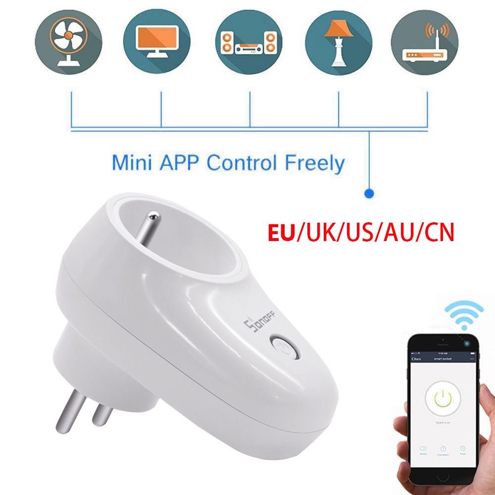 Sonoff S26 WiFi Smart Home Plug EU US UK CN AU Remote Wireless APP control Socket Switch Work with Amazon Echo IFTTT Google Home sonoff t1 us smart touch wall switch 1 2 3 gang wifi 315 rf app remote smart home works with amazon free ios and app ewelink