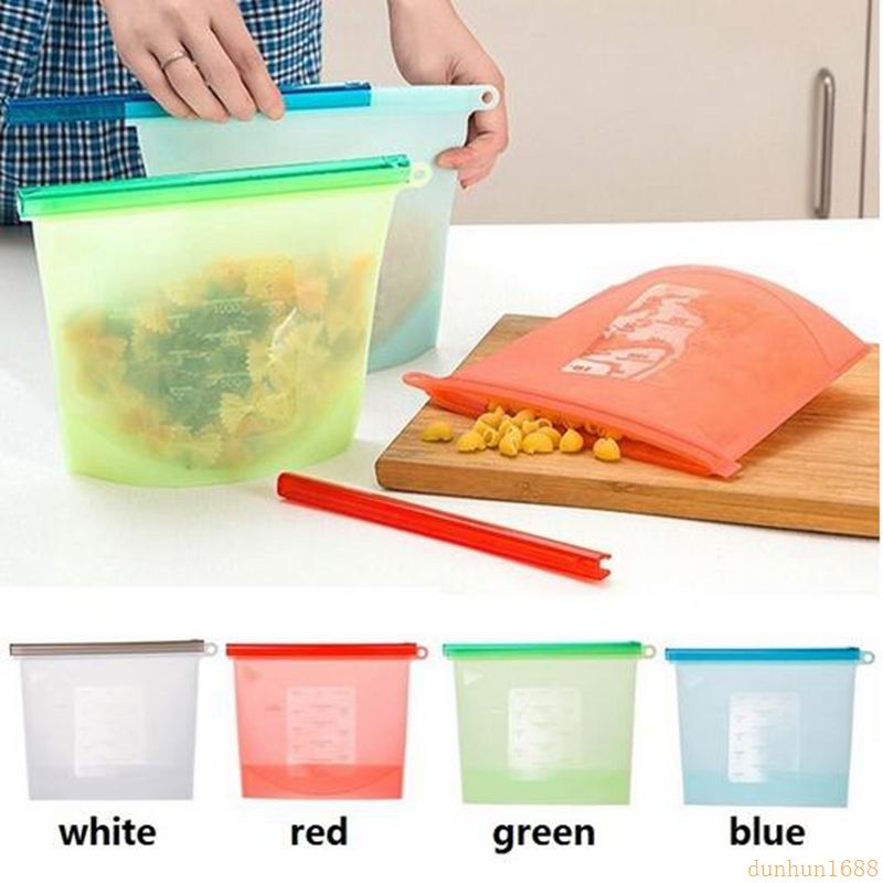1000ml 1500ml Silicone Fresh Bags Sealing Storage for Home Food Kitchen Organization Gadgets Cooking Tools Free Shipping#32432