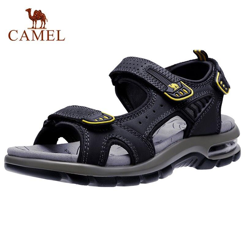 CAMEL Genuine Leather Men s Sandals Hiking Sandal Summer Beach Water Waterproof Outdoor Walking Cowhide Men