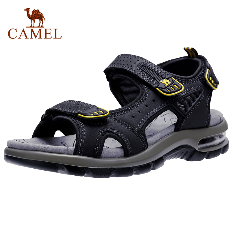 CAMEL Genuine Leather Men's Sandals Hiking Sandal Summer Beach Water Waterproof Outdoor Walking Cowhide Men Shoes