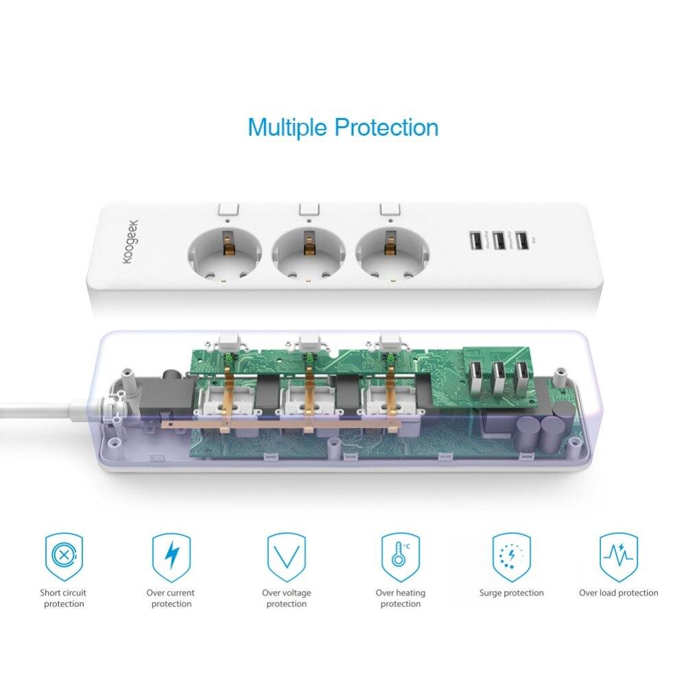 Умный дом Koogeek Wi-Fi интеллектуальный розеточный защитник индивидуально контролируемый 3 розетка силовой сектор для Apple HomeKit Alexa Google помощник (Фото 1)