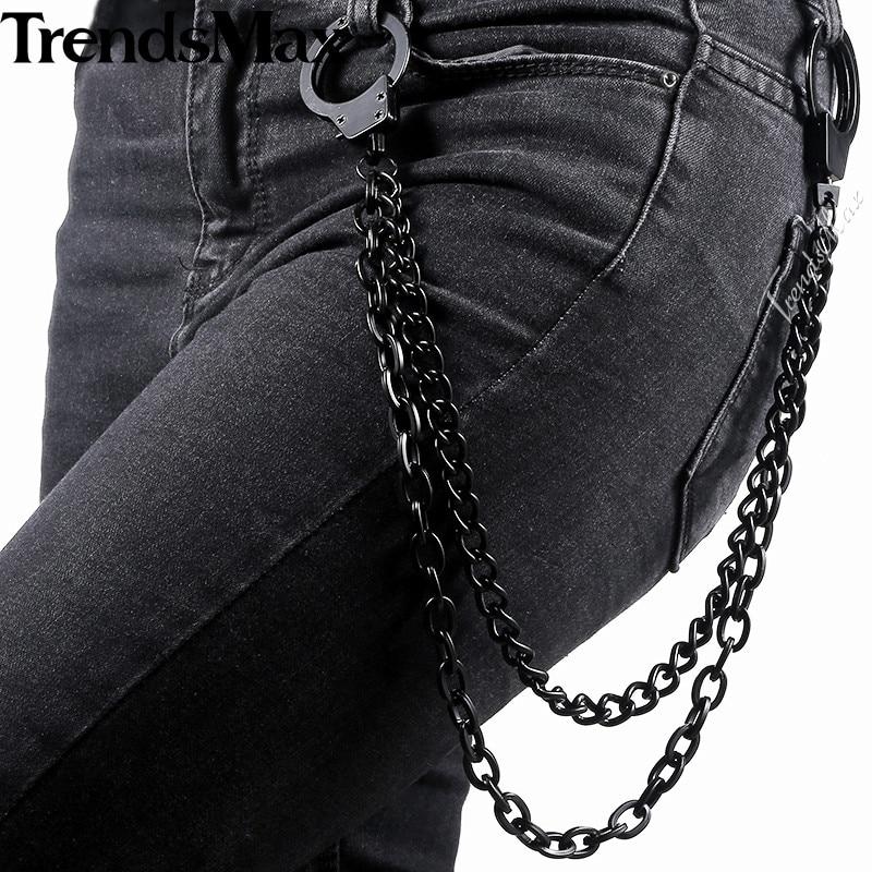 Trendsmax Black Tone Pants Chain 2 Lines Curb Chain Punk Jean Mens Jewelry PC03