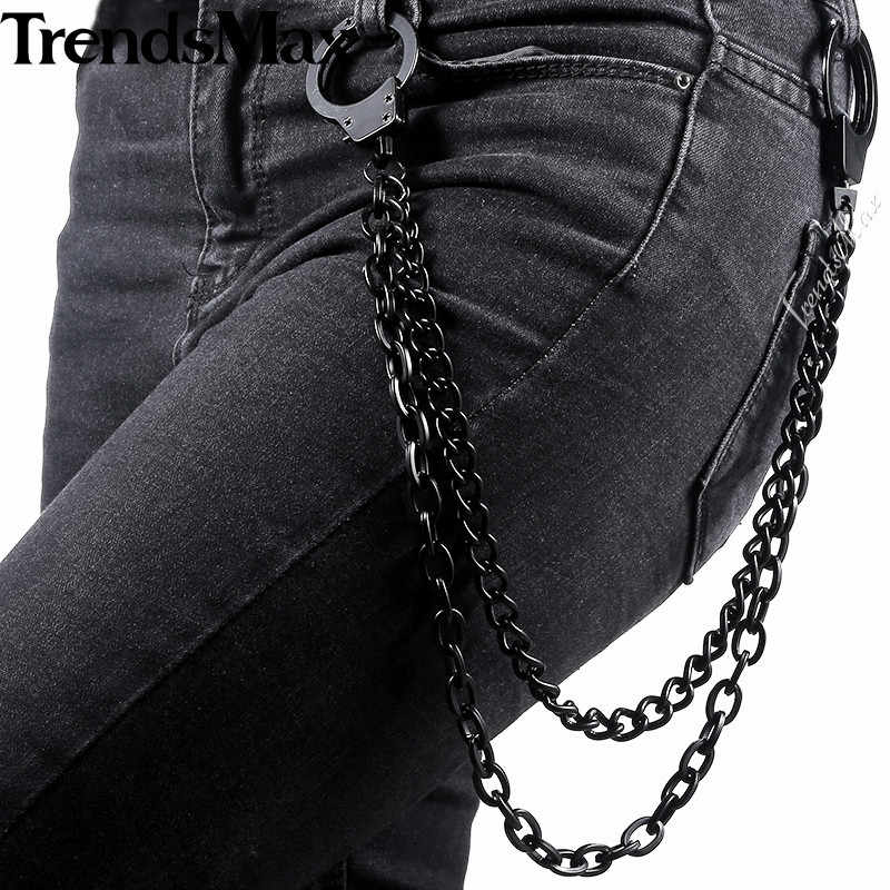 Trendsmax Black Tone Pants Chain 2 lines Curb chain Punk Jean Mens jewelry PC03