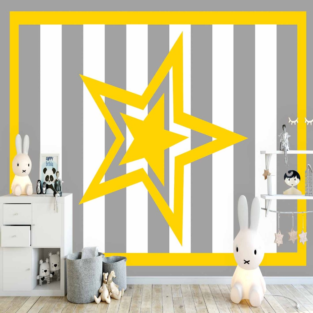 Else Yellow Frame Stars Gray White Stripes Lines 3d Print Cartoon Cleanable Fabric Mural Kids Children Room Background Wallpaper