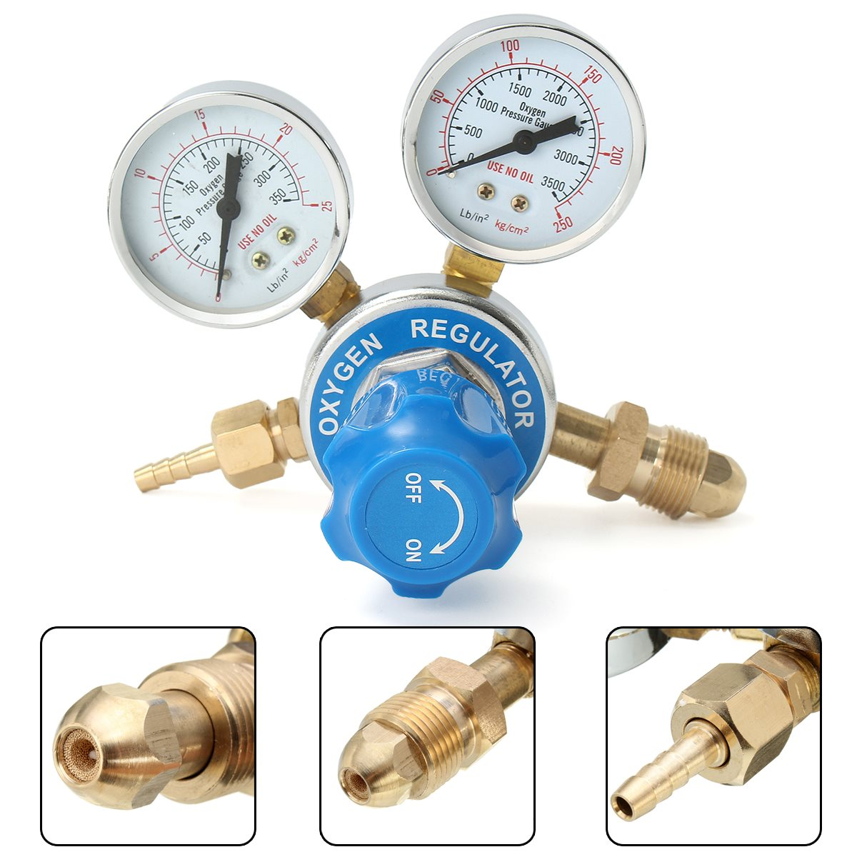 Gas Reducing Valve Pressure Reducer Solid Brass Oxygen Regulator Welding Torch Cutting