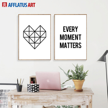 AFFLATUS Black White Geometric Love Letter Quotes Nordic Poster Wall Art Canvas Painting Pictures For Living Room