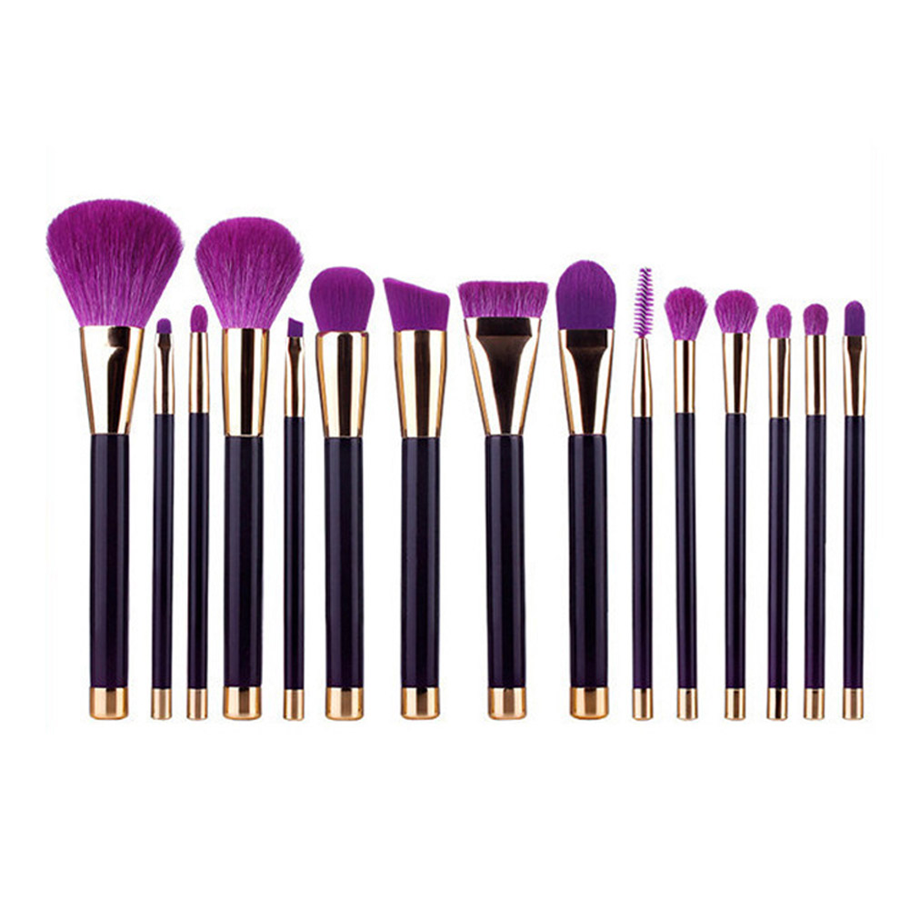15pcs!!! New Makeup Brushes Sets Synthetic Hair Make Up Brushes Tools Cosmetic Brush Professional Foundation Brush Kits Purple 24 pcs soft synthetic hair make up tools kit cosmetic brush kits beauty makeup brush sets with case