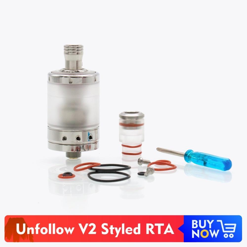 где купить Volcanee Unfollow V2 Styled RTA Rebuildable Tank Atomizer 3ml Capacity 22mm Diameter for Vape Electronic Cigarette дешево