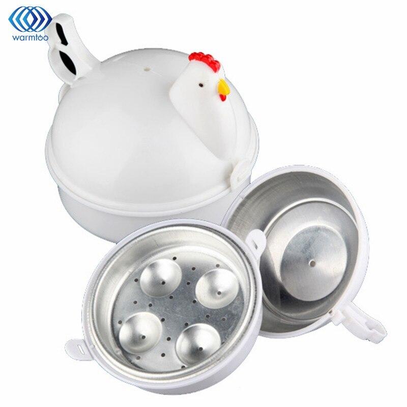 Kitchen Eggs Steamer Chicken Shaped Microwave 4 Egg Boiler Cs