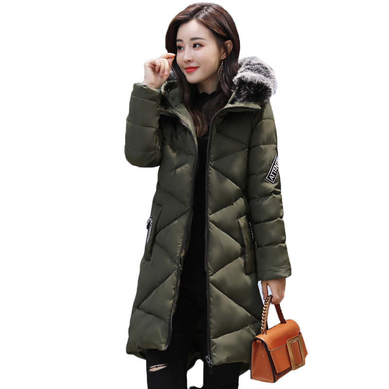 Fashion Thick Winter Warm Coat Female Winter Jacket Women Fur Collar Wadded Women Hooded Coat Down