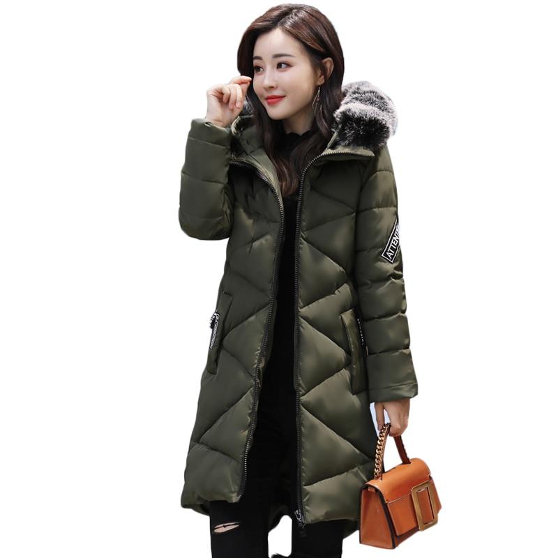 Fashion Thick Winter Warm Coat Female Winter Jacket Women Fur Collar Wadded Women Hooded Coat Down Parka Long Outerwear