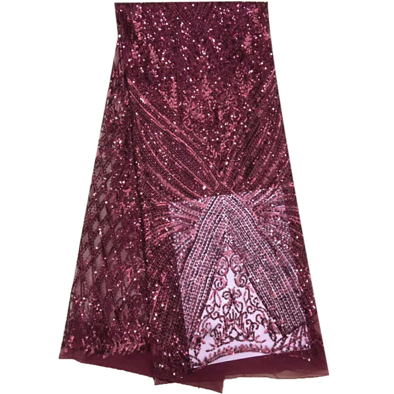 High Quality French Fashion Sequin Embroidery Tulle Lace Fabric Wine African Wedding Dress Lace Nigerian Lace Fabrics X895 2