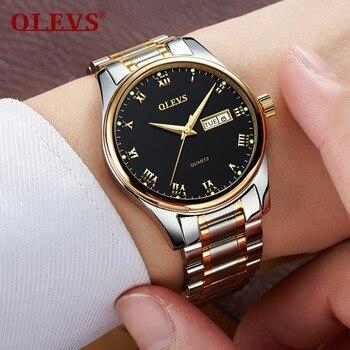 OLEVS Men's Water Resistant Stainless Steel Date Clock Quartz Watches 2