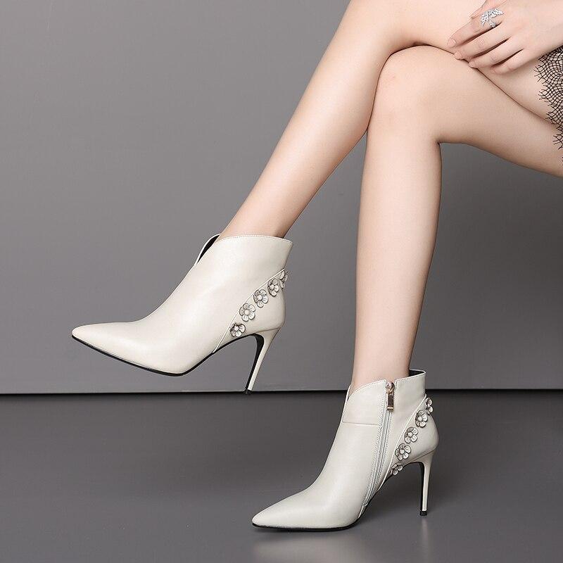 Feminina Warm Chaussures Fleurs beige Femme Boot 8 Luxe Cm Beige Talons Bota Single Warm Hauts Femmes 5 2018 À black Single De black Hiver Pour Mince Tnw7q81q
