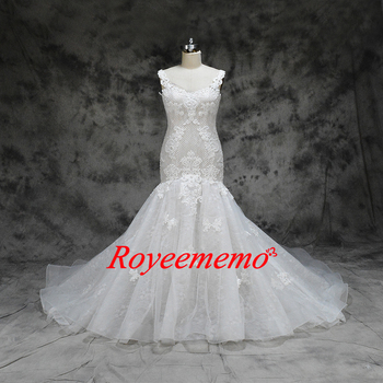 2019 nude lining and ivory lace mermaid Wedding Dress heavy beading top Bridal gown custom made wedding gown factory directly