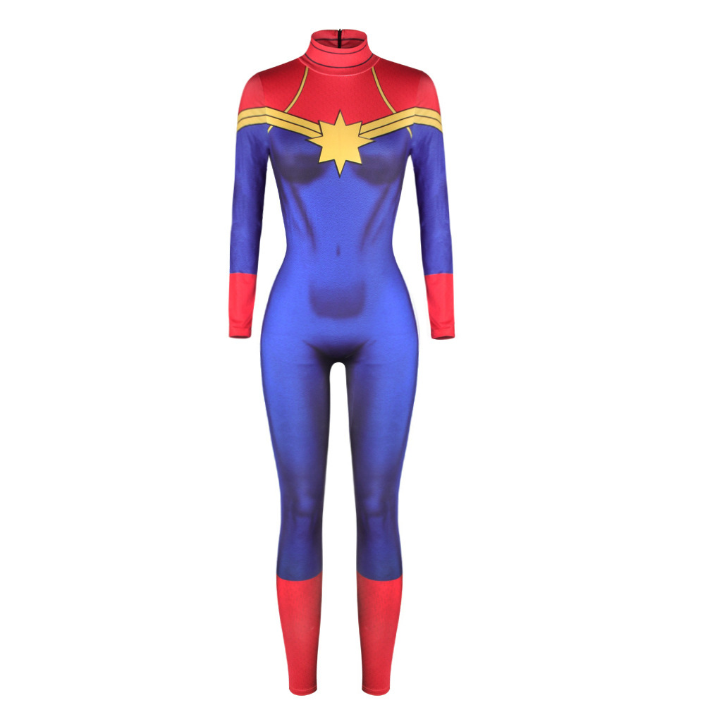 Womens Adults Ms Captain Marvel Superhero Costume Spandex Zentai Halloween 2018 Cosplay Lycra Fancy Dress Up