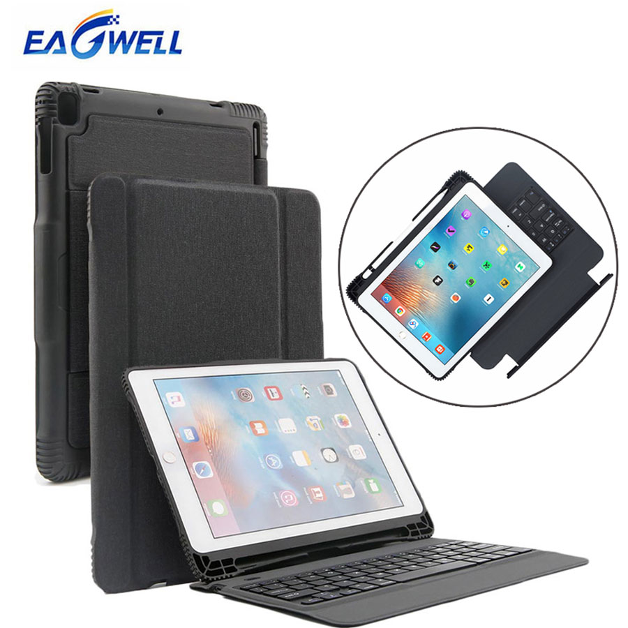 2-in-1 Bluetooth Wireless Keyboard Leather Case For New iPad 9.7 2017 2018 Pro 9.7 Air 2 Air 1 Detachable Tablet Keypad Cover wireless removable bluetooth keyboard case cover touchpad for lenovo miix 2 3 300 10 1 thinkpad tablet 1 2 10 ideapad miix