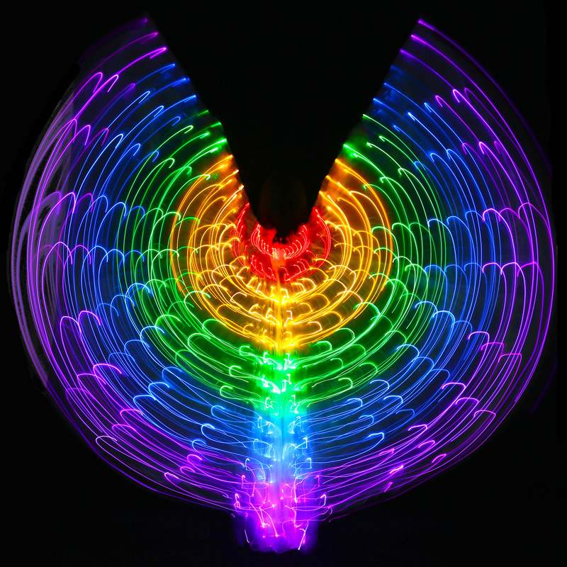 New Performance Prop Women Dance Accessories Girls DJ LED Wing Light Up Wing Costume LED Butterfly Wings Rainbow colourful