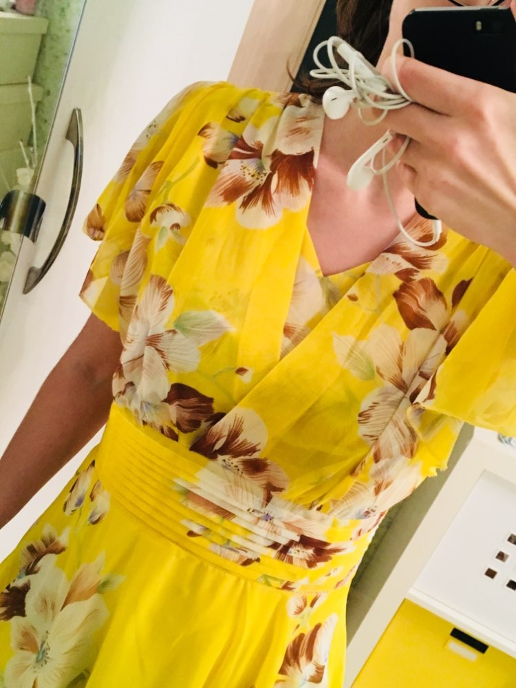 Free Shipping  Bohemian Style S 5Xl Summer New Arrival Collect Waist Flare Sleeve Flower Printed Woman Chiffon Long Dress photo review