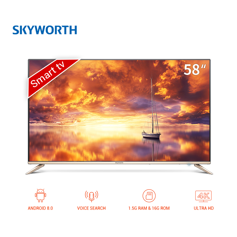 TV sets 58 Skyworth 58G2A 4K Smart ANDROID clear led TV android 8.0 UHD dolby  dvb dvb-t dvb-t2 digital television 5055InchTv