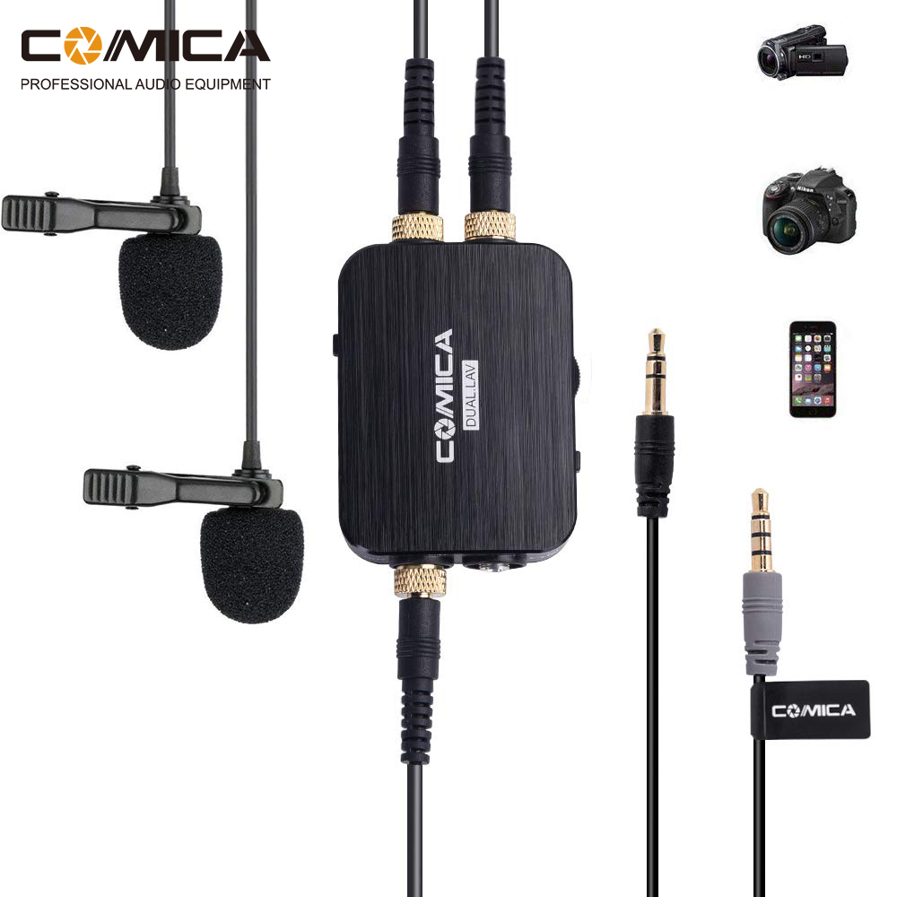 Comica CVM D03 Mono Stereo Dual Head Lavalier Microphone kit for iPhone Android Smartphone Gopro Camera