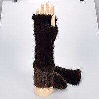 40センチ本物の毛皮ニット手袋ミトン100%リアルミンクの毛皮の手袋女