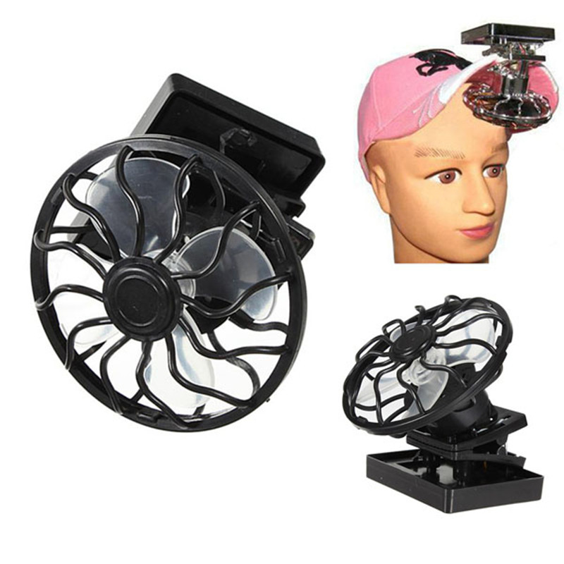 Clip-on Solar Cell Fan Sun Power Energy Panel Cooling fan Hat Cooler For Camping Hiking outdoor travel useful tools
