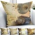 Else коричневая фортепианная нота  винтажный Декор для дома  3D принт  наволочки для подушки  квадратная наволочка  скрытая молния  45х45см