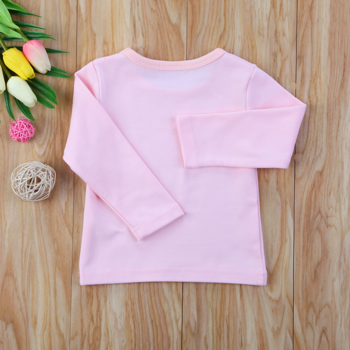 Autumn Cotton Newborn Infant Kids Baby Boys Girls Clothes Solid Cotton Soft Clothing Long Sleeves T-shirt Tops 4