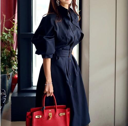Fashion Pure Cotton Long Sleeve Elegant Spring fall   Trench   coats With belts Outwear Stylish office Lady fashion Overcoats