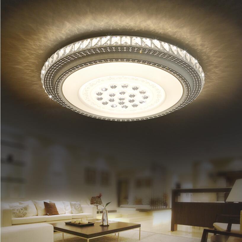 ห้องนั่งเล่นโมเดิร์นไฟ LED โคมไฟคริสตัลเพดาน 24 วัตต์ 36 วัตต์รอบห้องนอนห้องรับประทานอาหารไฟ AC85 265V-ใน ไฟเพดาน จาก ไฟและระบบไฟ บน OUDELADI Lighting Store