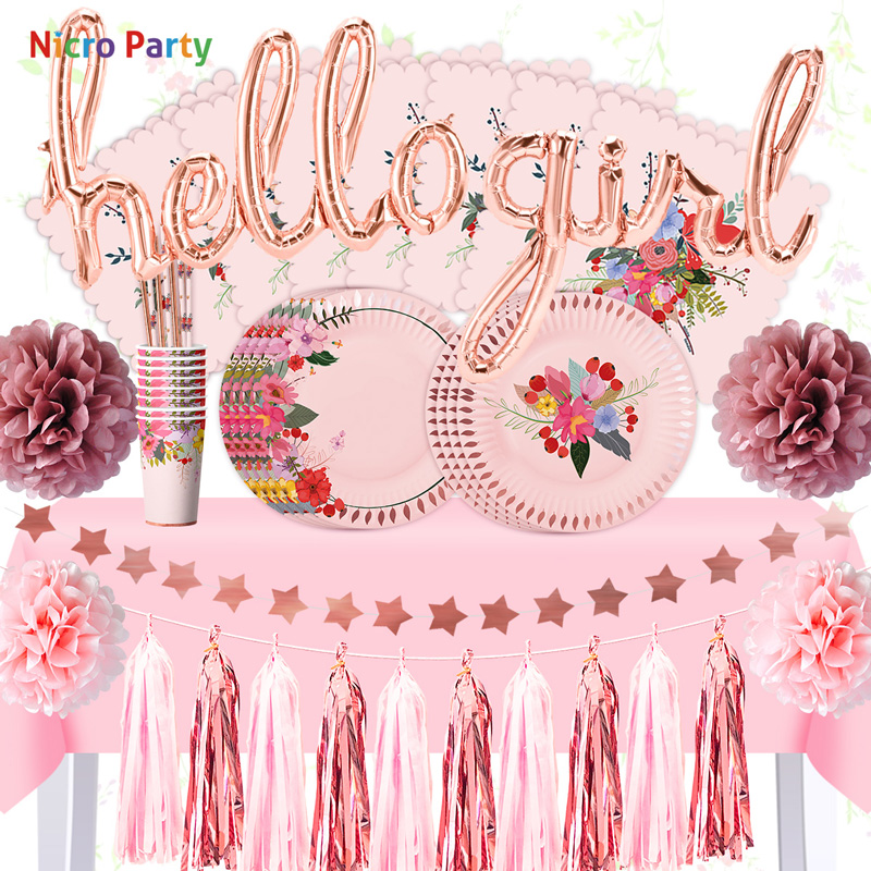 Nicro 50 pcs/set Rose Gold Hello Girl Happy Birthday Baby Shower Party Decoration for 8 GuestDecor DIY Home New  #Set123Nicro 50 pcs/set Rose Gold Hello Girl Happy Birthday Baby Shower Party Decoration for 8 GuestDecor DIY Home New  #Set123