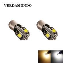 2pcs BAX9S H6W Led Lamp 5730 8 SMD LED Car Side Maker Leeslamp Lampen Super Heldere Licht DC 12V Warm Wit Wit