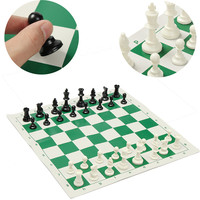 New Tournament Chess Games Set Christmas Gifts Plastic Pieces Green Roll 43x43cm Checkers Entertainment With Friends
