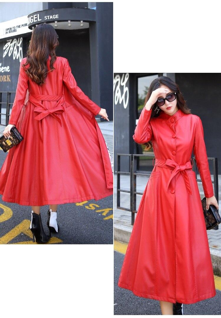red Mode En Manteaux Manteau Qualité K3823 black Long Vestes Gray Noir Pu Automne Haute Printemps Nouvelles Et Femmes Vêtements Dames Cuir R5qZZO
