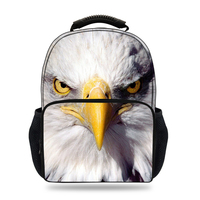 15inch 3D Mochila Children Bag School For Boys Hawk Bald Eagle Backpack Kids Birds Animal Print Daypak Girls Schoolbag Rucksack