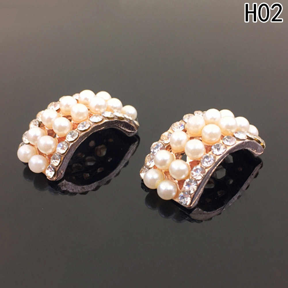 2 pc/pack New Style Crystal Pearl Alloy Button For Headband Accessory For DIY Hair Clip / Ring