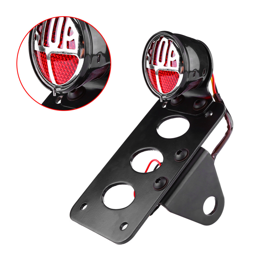 Car-Styling Universal Side Mount Motorcycle Tail Light License Plate Lamp with Bracket Side Mount Motorcycle Tail Light