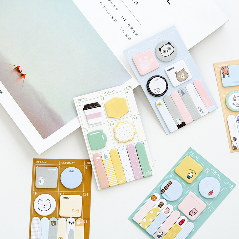 12 sets/1 lot Creative Three bears Memo Pad Sticky Notes Escolar Papelaria School Supply Bookmark Post it Label