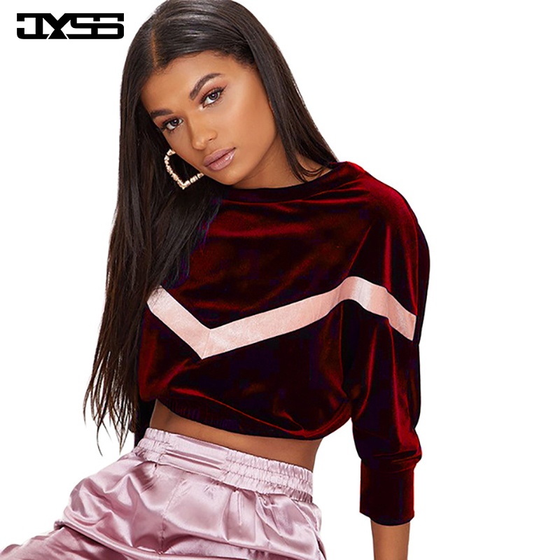 autumn casual women short sweatshirt female blue redwine velour hoodies womens pullovers long sleeve o-neck velvet hoodies 81757
