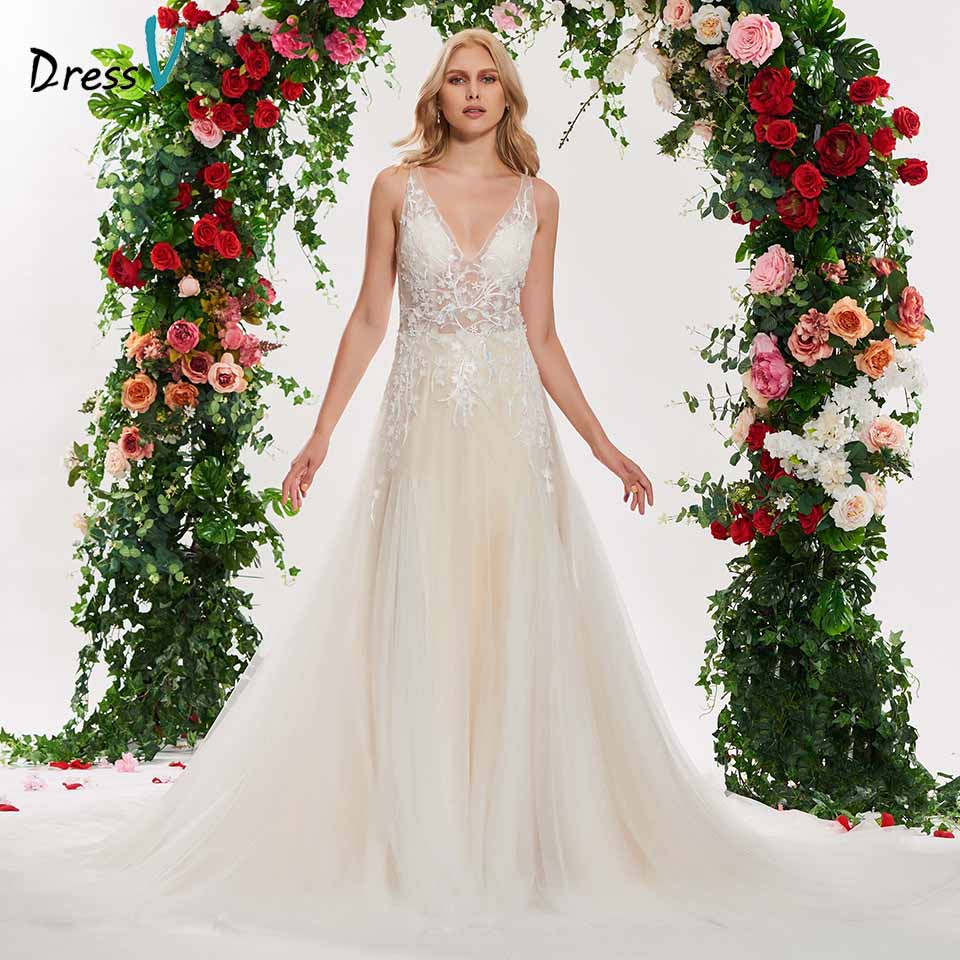Dressv v neck a line elegant wedding dress sleeveless tulle button lace floor length simple bridal gonws wedding dresses