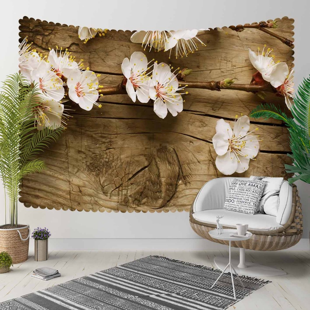 Else Brown Tree Wood On White Flowers Floral Nature 3D Print Decorative Hippi Bohemian Wall Hanging Landscape Tapestry Wall Art