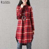 Top Blusas ZANZEA Autumn Women Lapel Neck Buttons Long Sleeve Long Plaid Check Shirt Blouse Casual