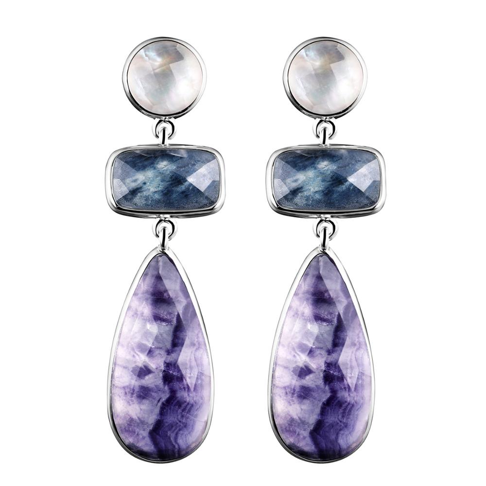 DORMITH real 925 sterling silver earring luxury natural blue sapphire fluorite mother pearl drop earring for
